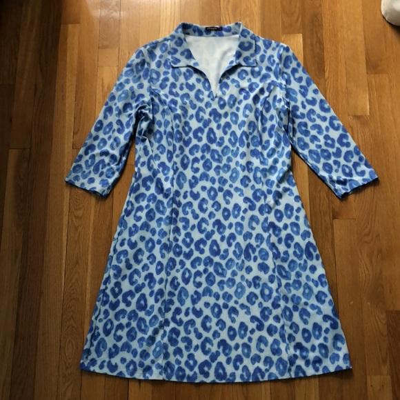 JMcLaughlin Catalina Cloth blue leopard dress
